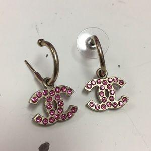 Chanel Pink Crystal Earrings